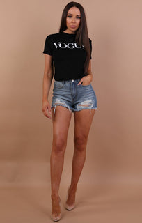 Black Vogue Printed Crop Top - Molly