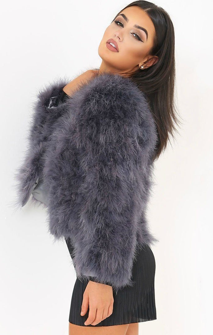 Grey Ostrich Feather Long Sleeve Coat