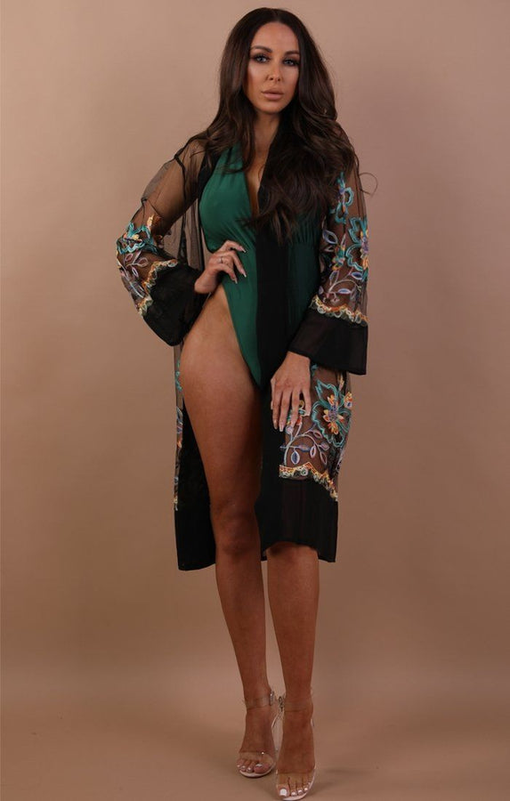 Black Green Embroidered Mesh Kimono - Lorelei