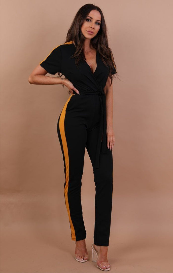 Black With Mustard Stripe Jumpsuit - Montana