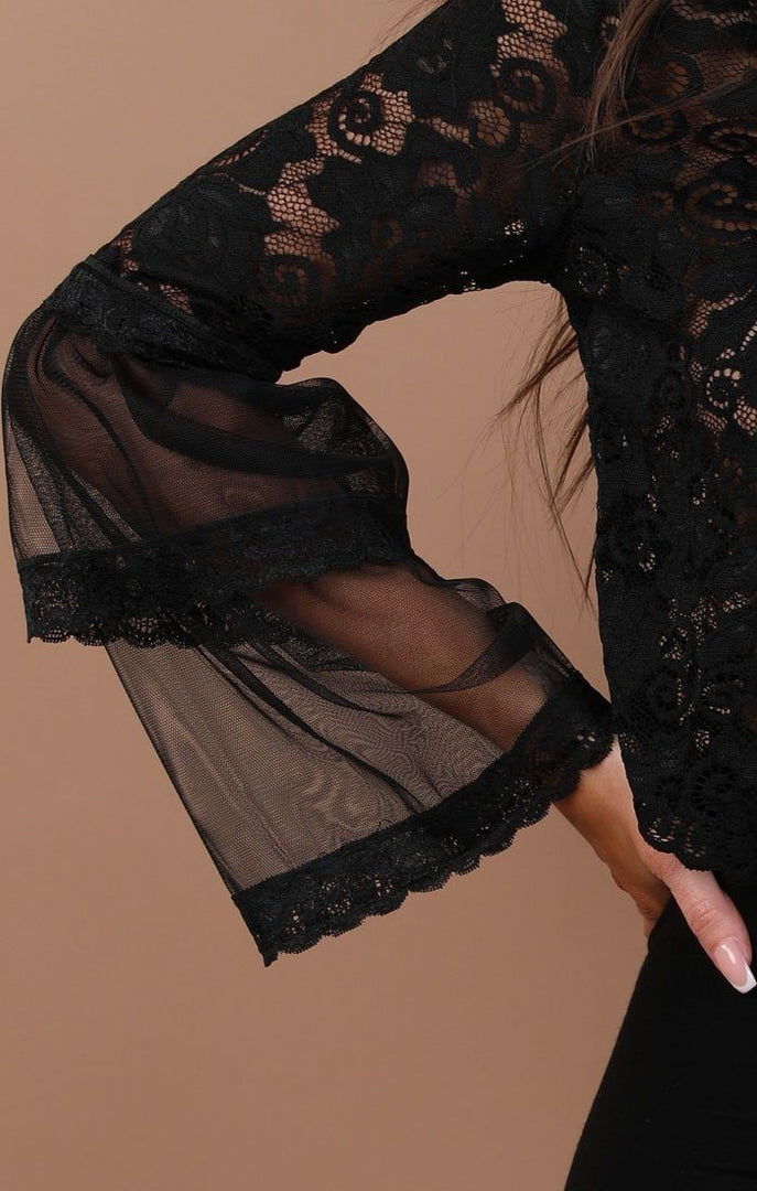 Black Floral Lace Bell Sleeve Top – Hayden