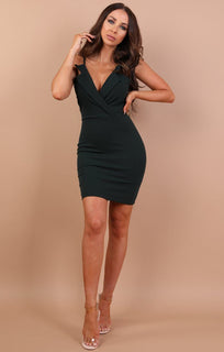 Green Collared Bodycon Mini Dress - Nina