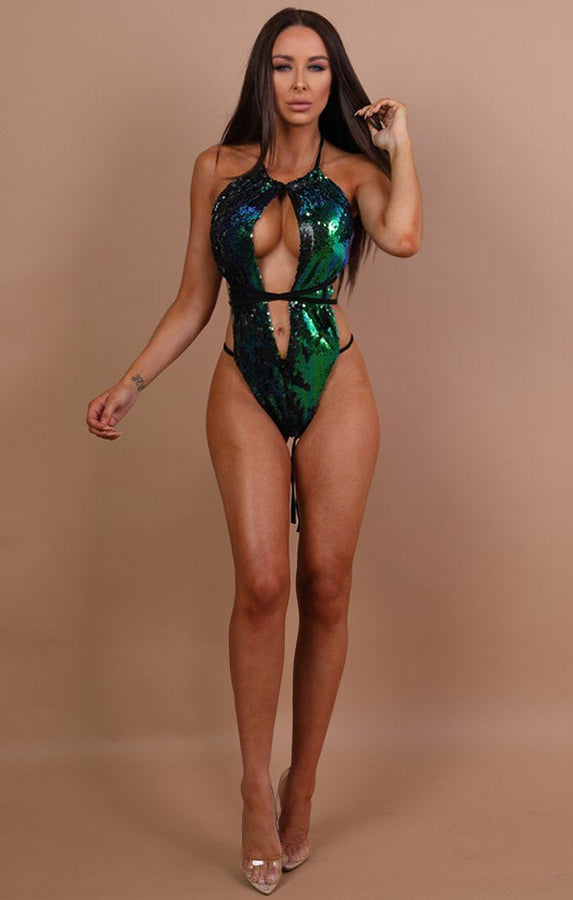 Green Sequin Plunge Swimsuit - Maisie