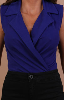 Blue Sleeveless Blazer Bodysuit - Stassi