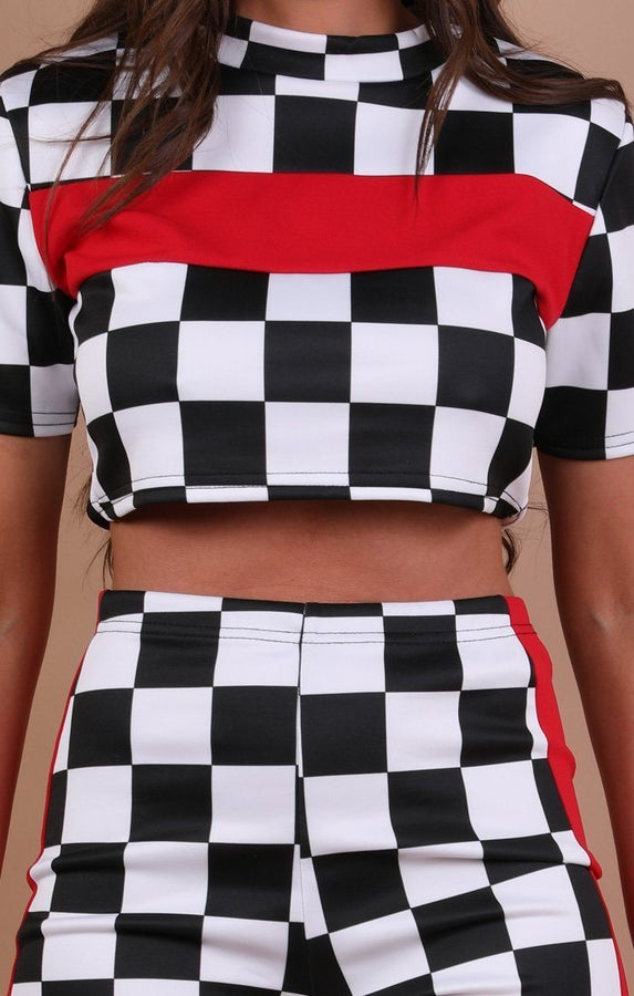 Check Red Contrast Stripe Co-ord Set - Wynter