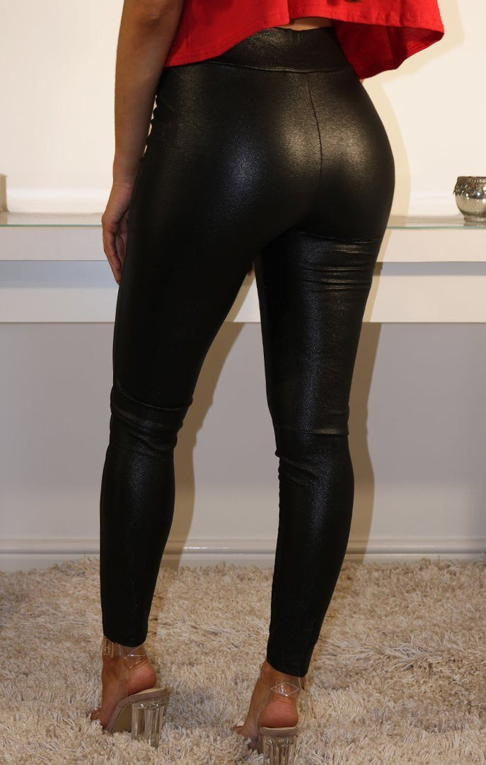 Black Sparkle Pu Leggings