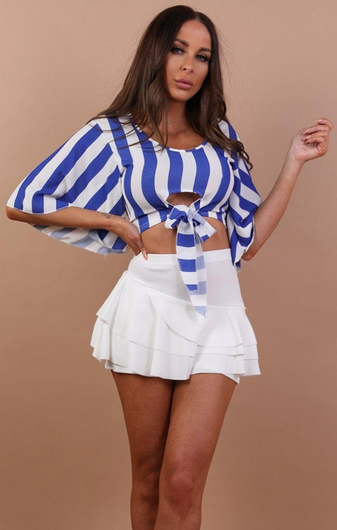 Blue Striped Crop Top - Abbey