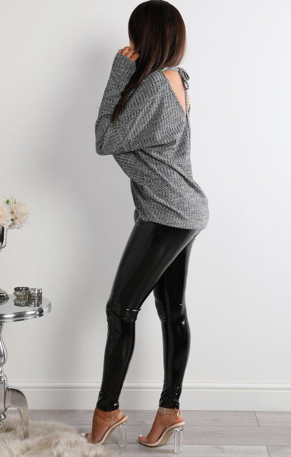Grey Front Twisted Long Sleeve Top - Lucy