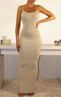 Champagne Crossover Strap Maxi Dress