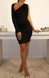 Black One Sleeve Cut Out Bodycon Dress