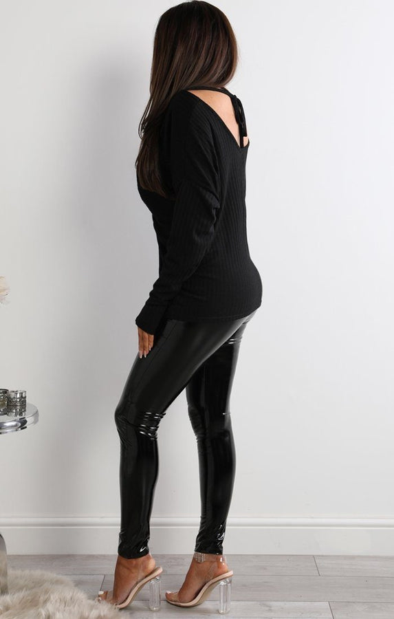 Black Front Twisted Long Sleeve Top - Lucy