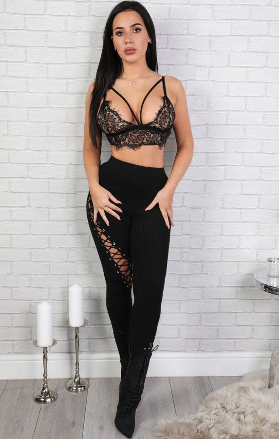Black Lace-up Leggings - Tina