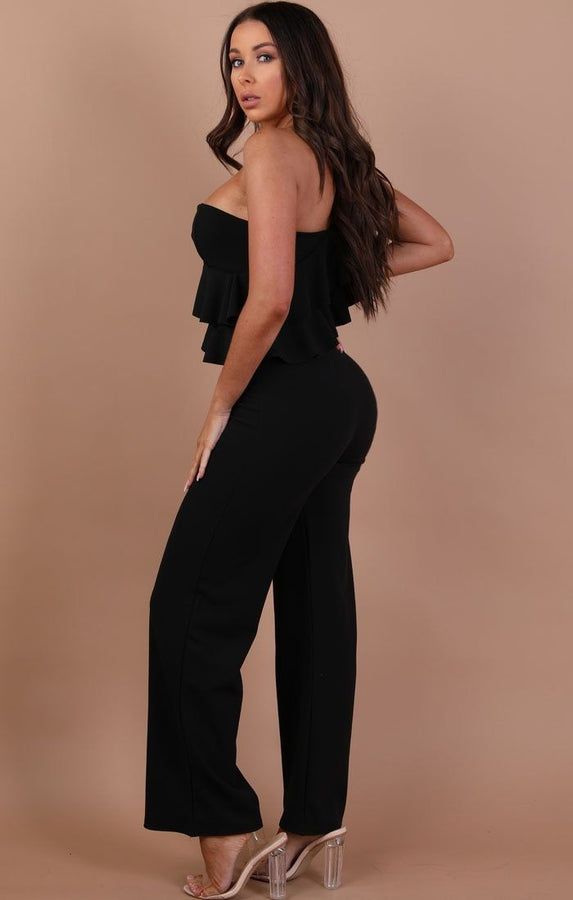 Black One Shoulder Frill Jumpsuit – Becca
