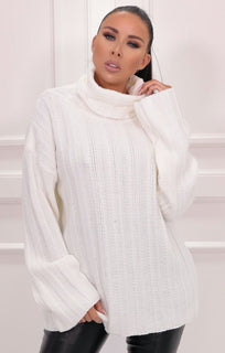Cream Ribbed Knit Polo Neck Jumper - Vogue