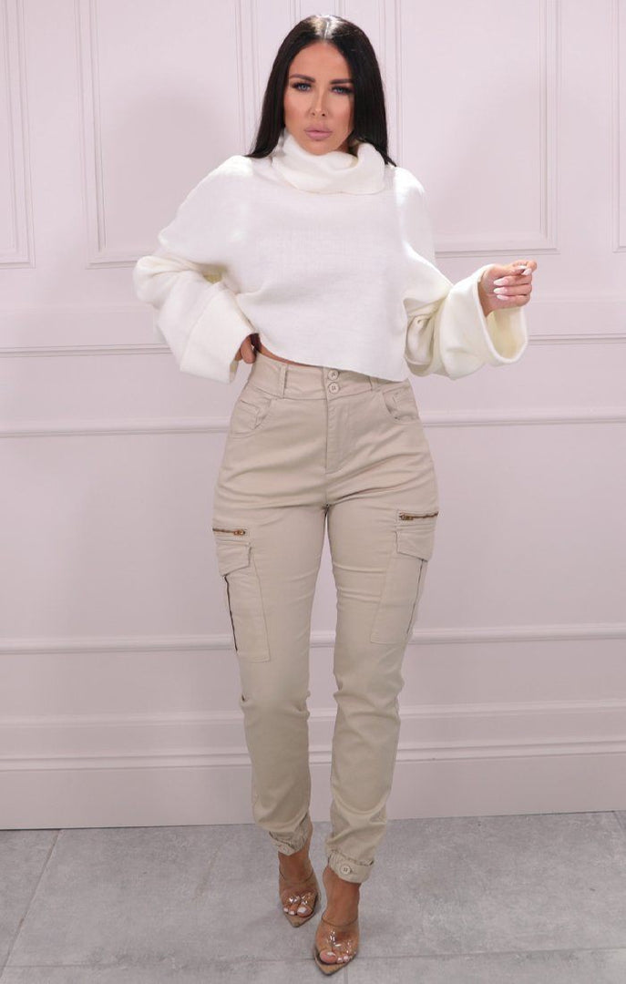 Cream Roll Neck Cropped Knitted Jumper - Alva