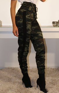 Khaki Camo Joggers With Stripe Detail