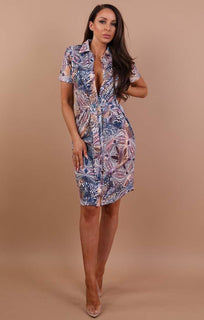 Blue Peachy Belted Shirt Dress - Saphire