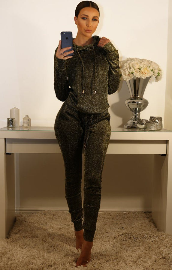 Khaki And Gold Metallic Tracksuit Set