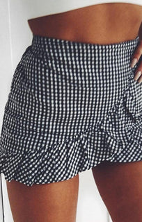 Black Gingham Frill High Waist Skirt Shorts