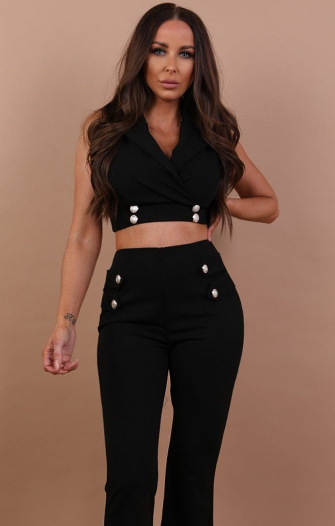 Black Cropped Blazer Co-ord Set - Ruby