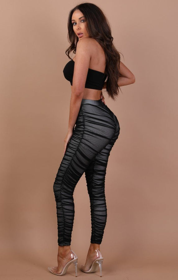 Black Ruched Mesh Leggings – Jade