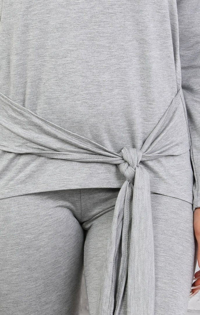 Grey Tie Front Loungewear Set - Emmy