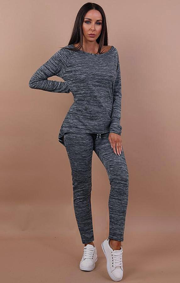 Charcoal Bow Back Loungewear Tracksuit - Sara