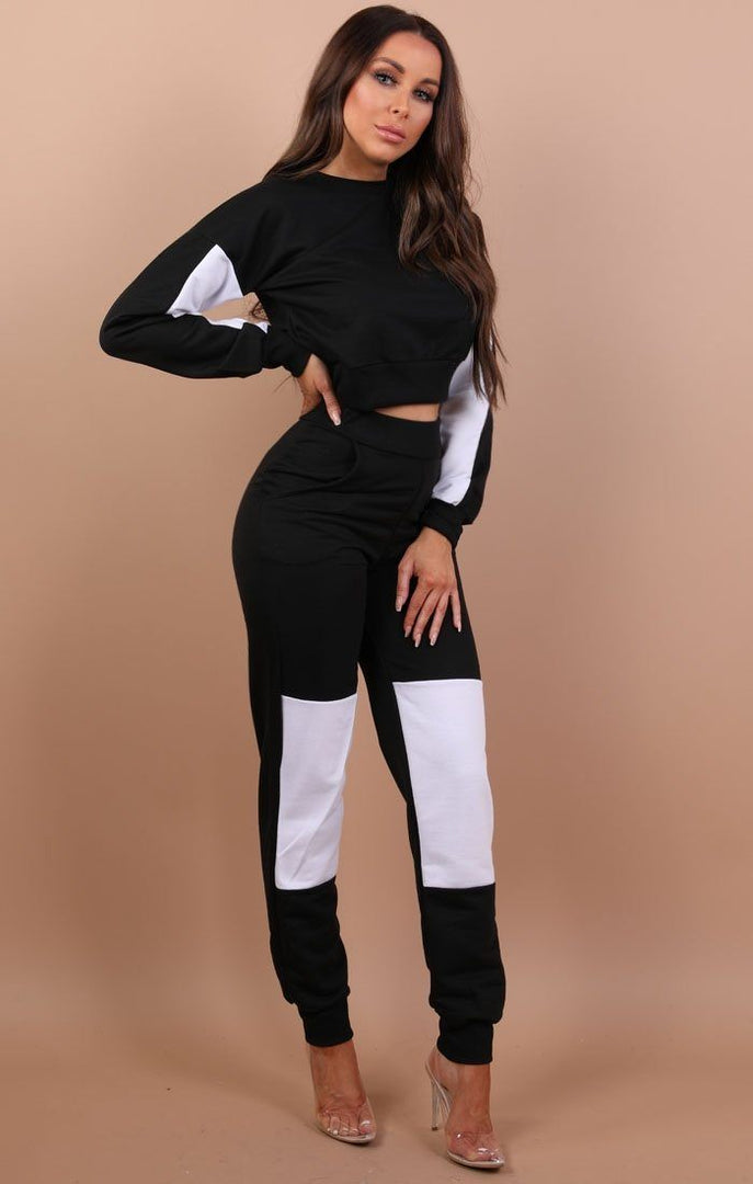 Black And White Patched Loungewear Set - Lucy