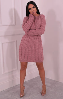 Dusky Pink Cable Knit Jumper Dress - Winter