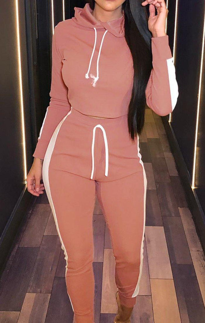 Dusky Pink With White Stripe Lounge Wear Set - Lexi