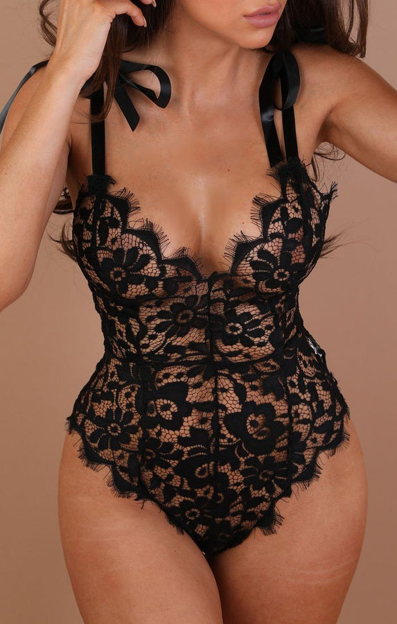 Black Floral Lace Ribbon Bodysuit - Paige