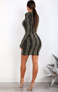 Gold Glitter Mesh Panel Bodycon Dress