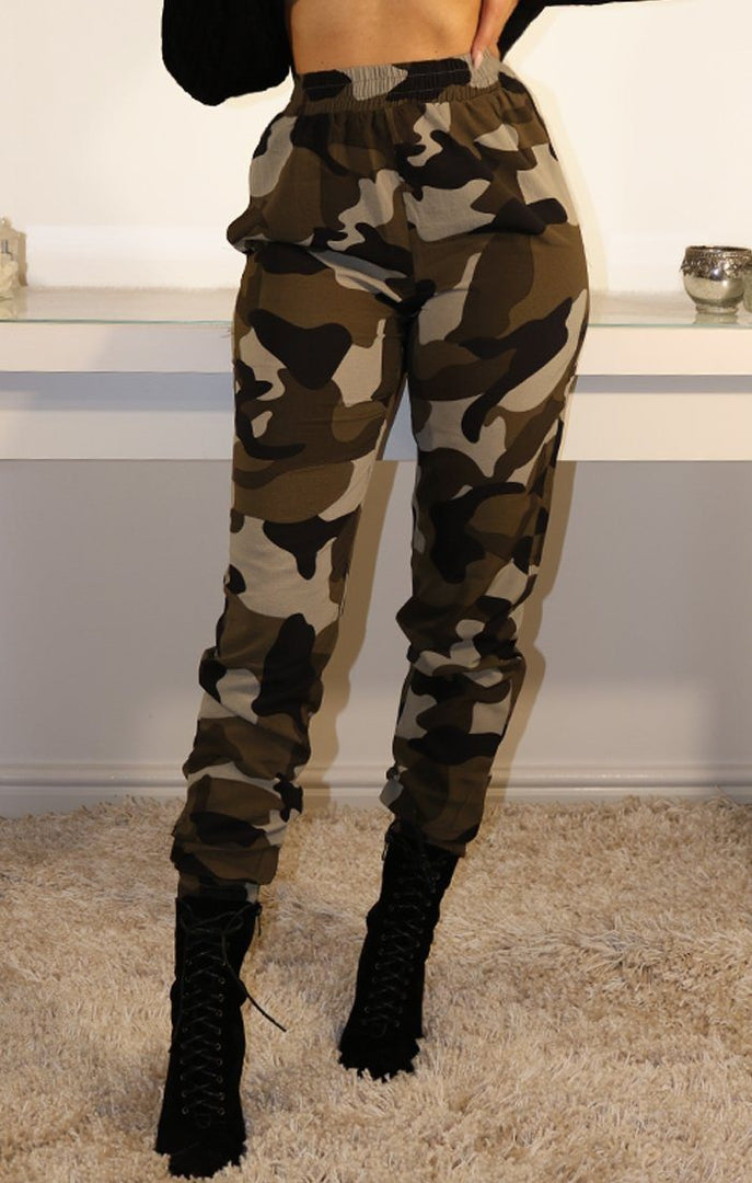 Khaki Elasticated Camo Joggers