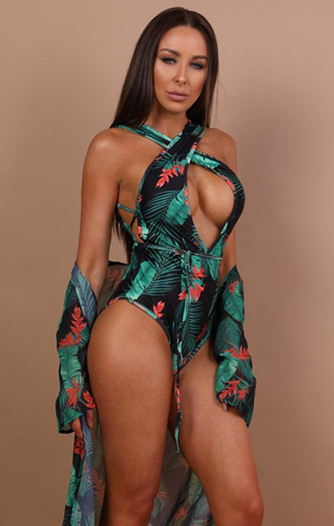 Black Tropical Two Piece Swimwear Set - Kady