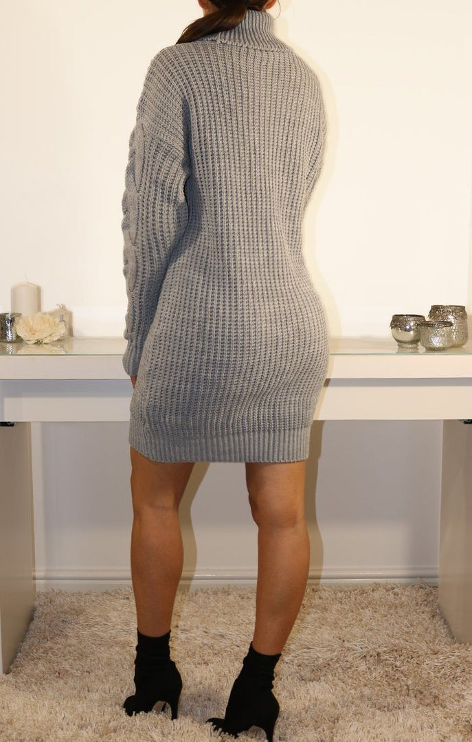 Grey Roll Neck Knitted Jumper Dress