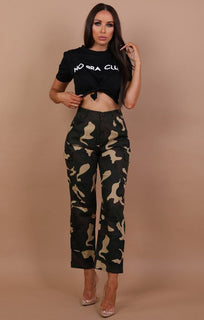 Black No Bra Club Print Crop Top - Kendall