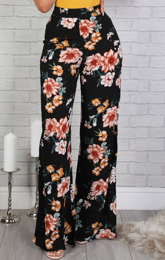 Black Floral Wide Leg Trousers - Bailey