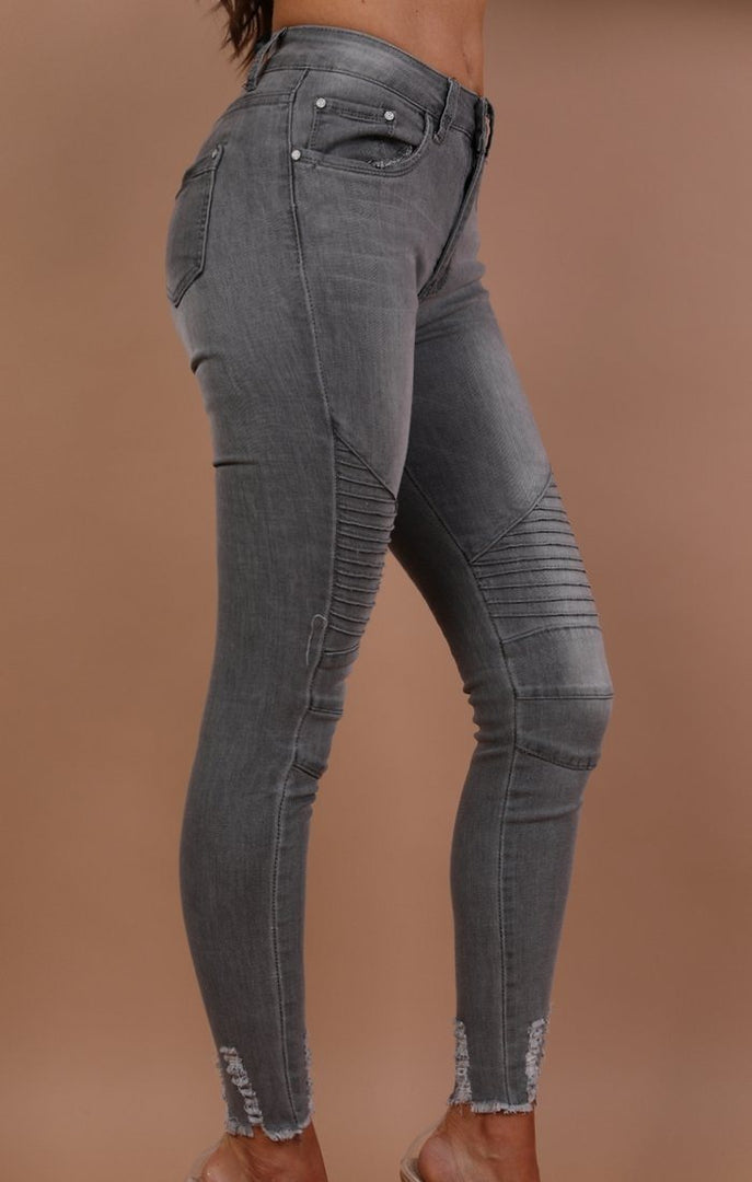 Grey Ribbed Skinny Biker Jeans - Willow
