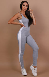 Grey White Side Stripe Jumpsuit - Alana