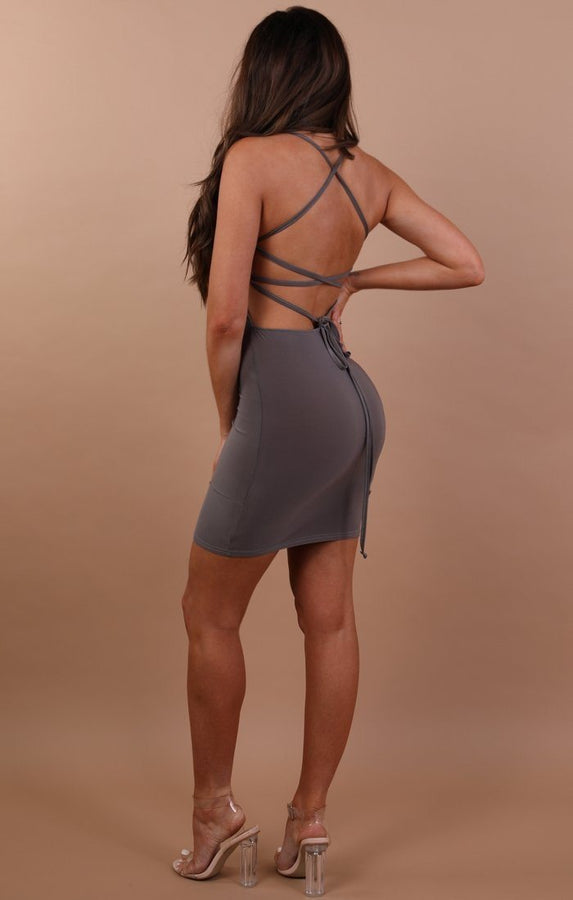 Grey-slinky-lace-up-bodycon-dress-Courtney