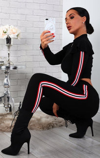 Black Frill Shoulder Loungewear Tracksuit