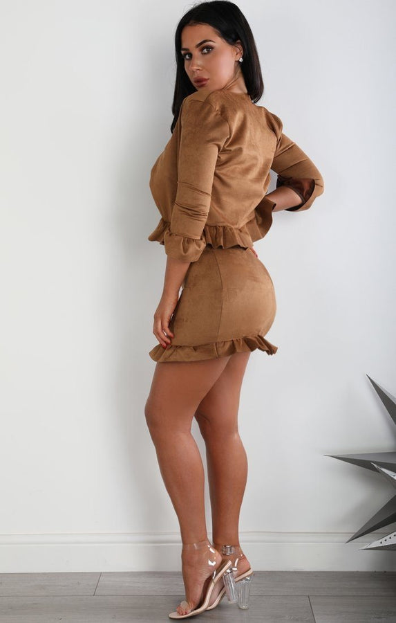 Camel Suede Frill Hem Mini High Waist Skirt