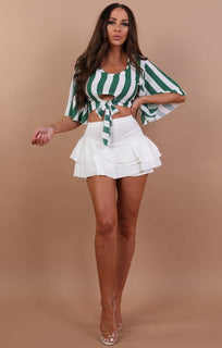 Green Striped Crop Top - Abbey