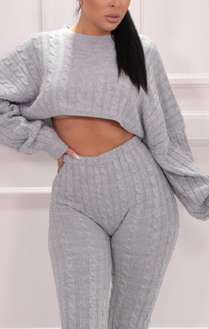Grey Cable Knit Cropped Jumper Leggings Co-ord - Baker