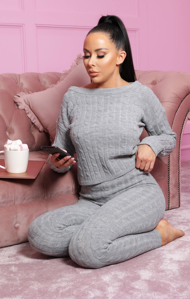 Grey Cable Knit Loungewear Set - Alison