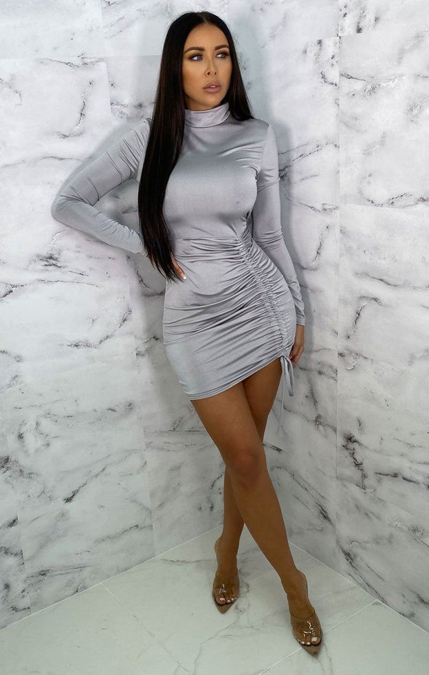 Grey High Neck Ruched Side Bodycon Mini Dress - Tasmin