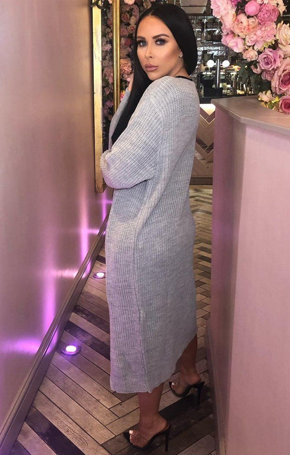 Grey Knitted Long Cardigan - June