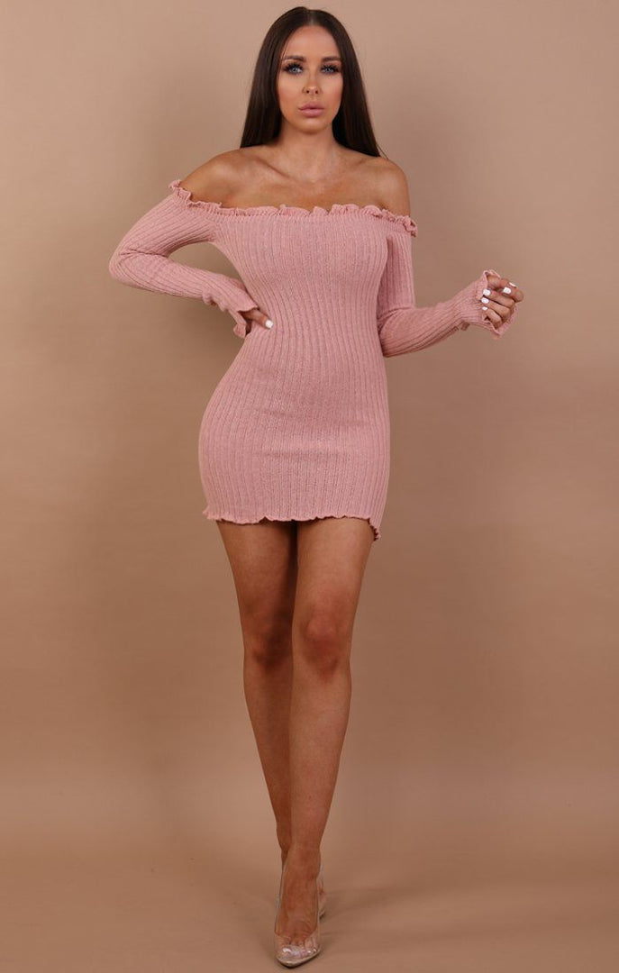 Rose Bardot Knitted Mini Dress - Carmen