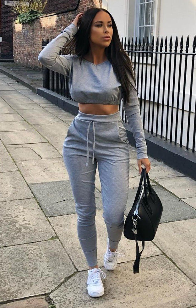Grey Crop Jumper Loungewear Set - Deanna