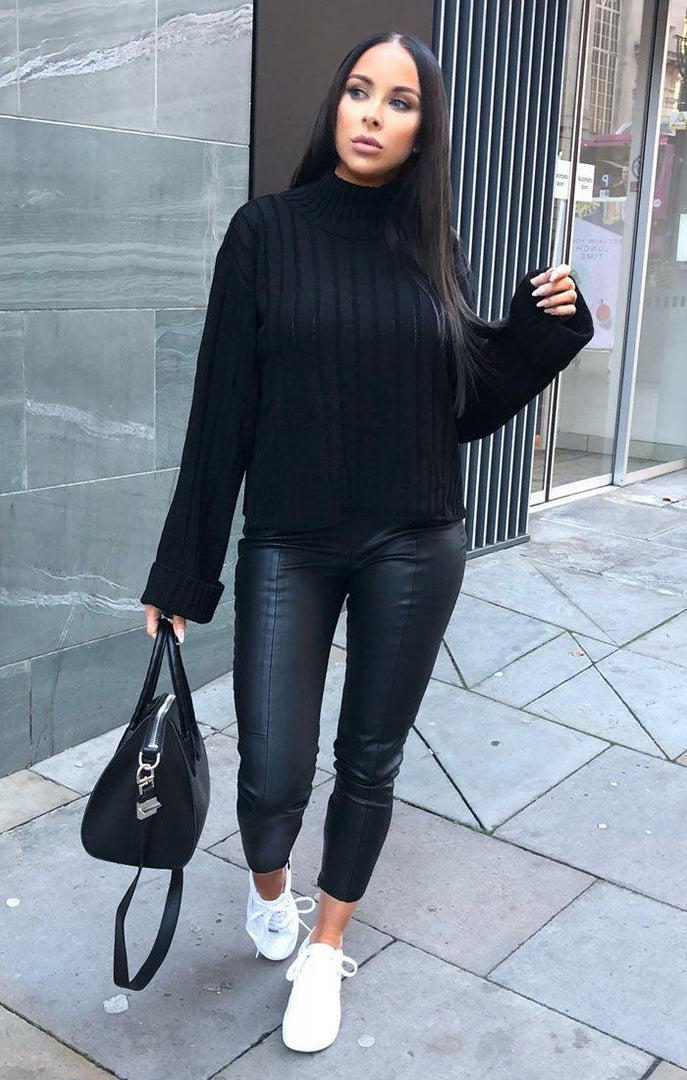 Black Ribbed Knit Oversized High Neck Jumper - Elisha